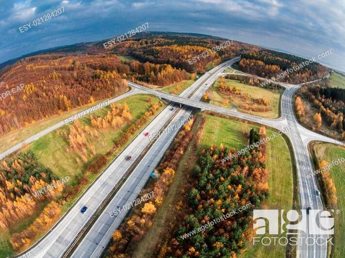 Stock Photo: Aerial view of a road junction.