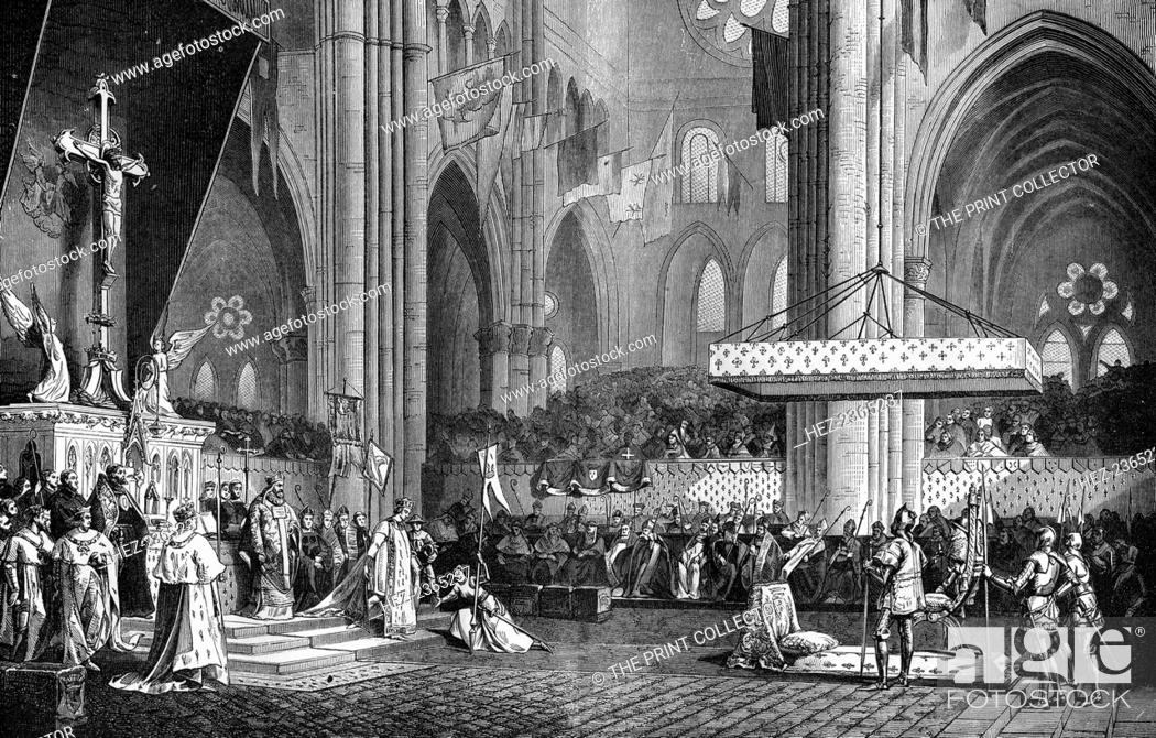 Stock Photo: Joan of Arc at the coronation of Charles VII, 1429 (1882-1884). Joan of Arc persuaded Charles to declare himself King of France (at the time France was ruled by.