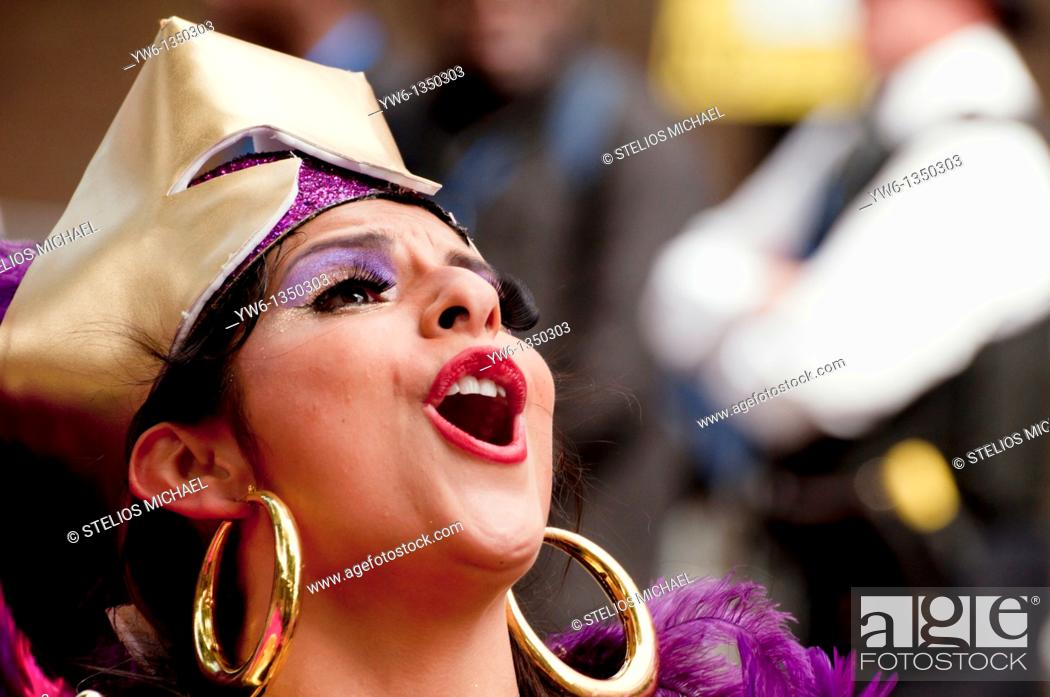 Stock Photo: Girl singing at the Notting Hill Carnival 2010 in London.