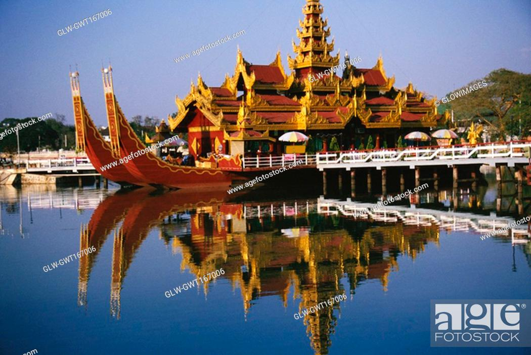 Stock Photo: Palace on a barge in a lake, Mandalay, Myanmar.