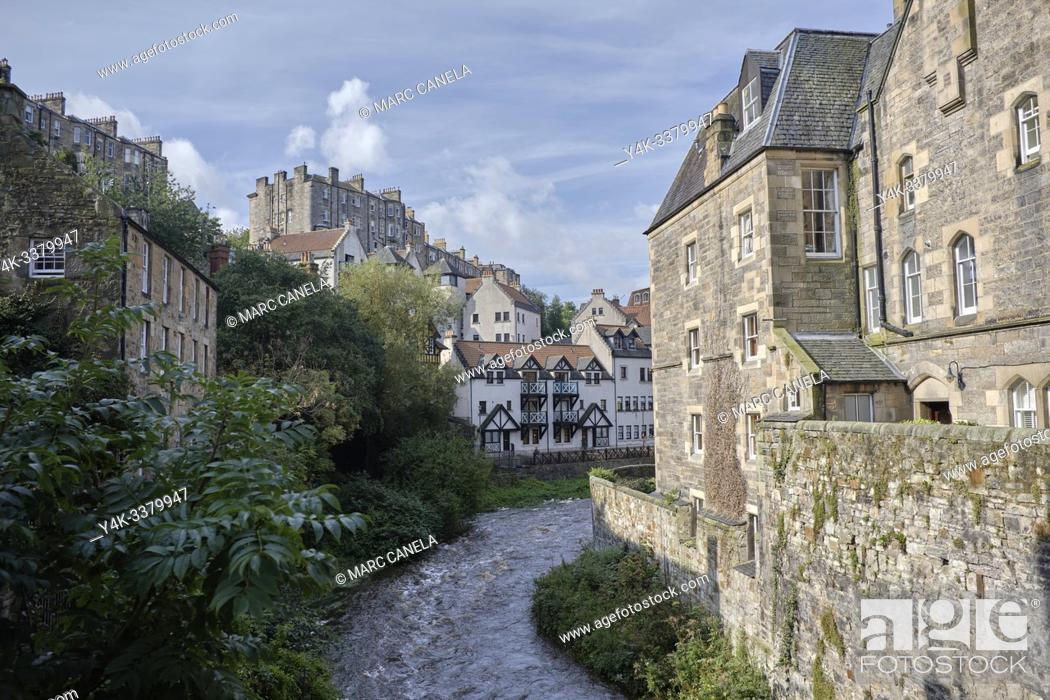 Stock Photo: The Dean Village is a tranquil green oasis on the Water of Leith, only five minutes walk from Princes Street. . In the past the village housed mills of various.