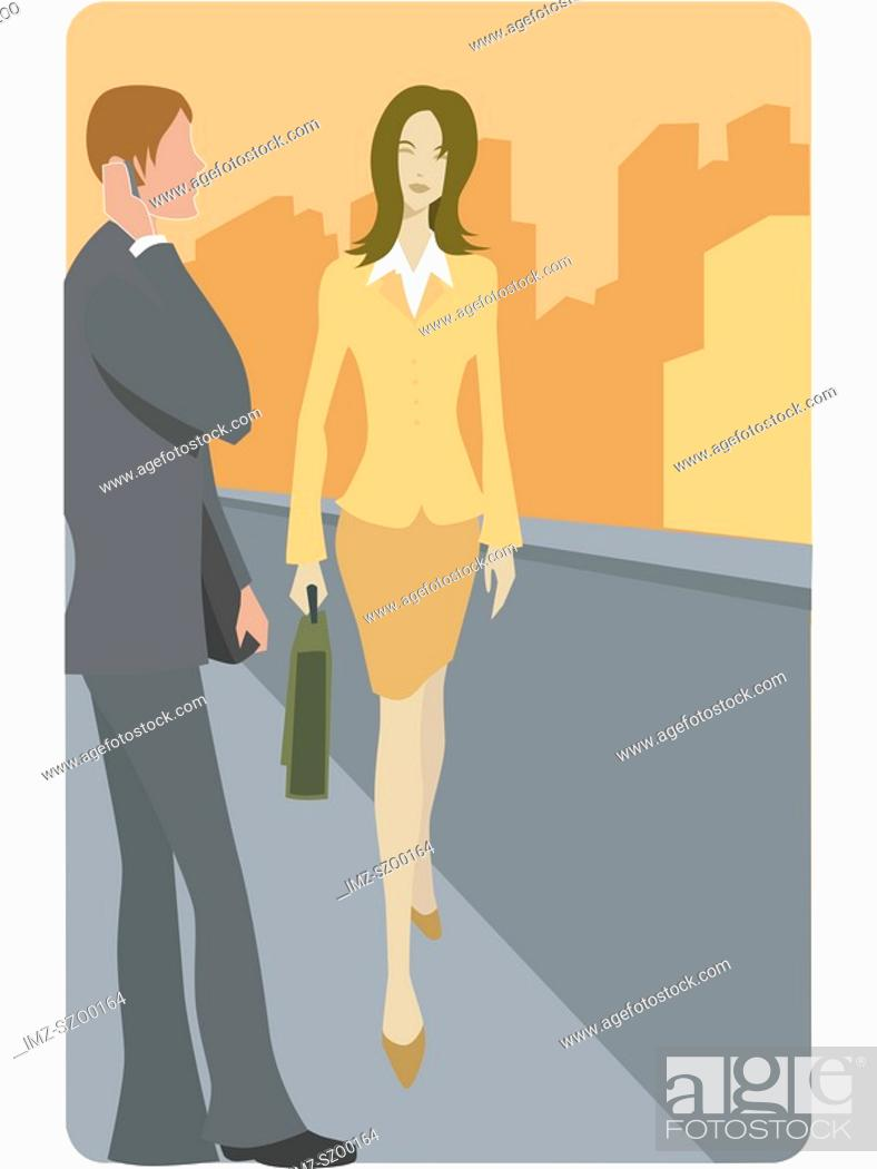 Stock Photo: A businesswoman walking pass a businessman on her way to work.