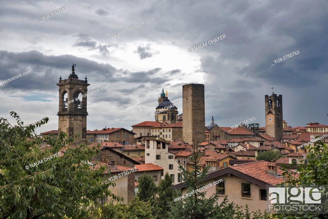 Stock Photo: Red roofs, towers of High City, Città Alta on a rainy day, Bergamo, Italy, Europe.
