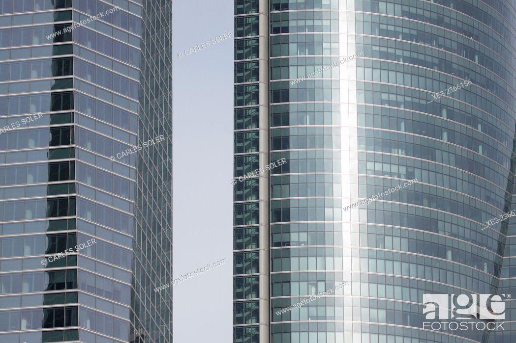 Stock Photo: Torre Espacio and Torre de Cristal. Cuatro Torres Business Area (Four Towers Business Area). Paseo de la Castellana. Madrid. Spain.