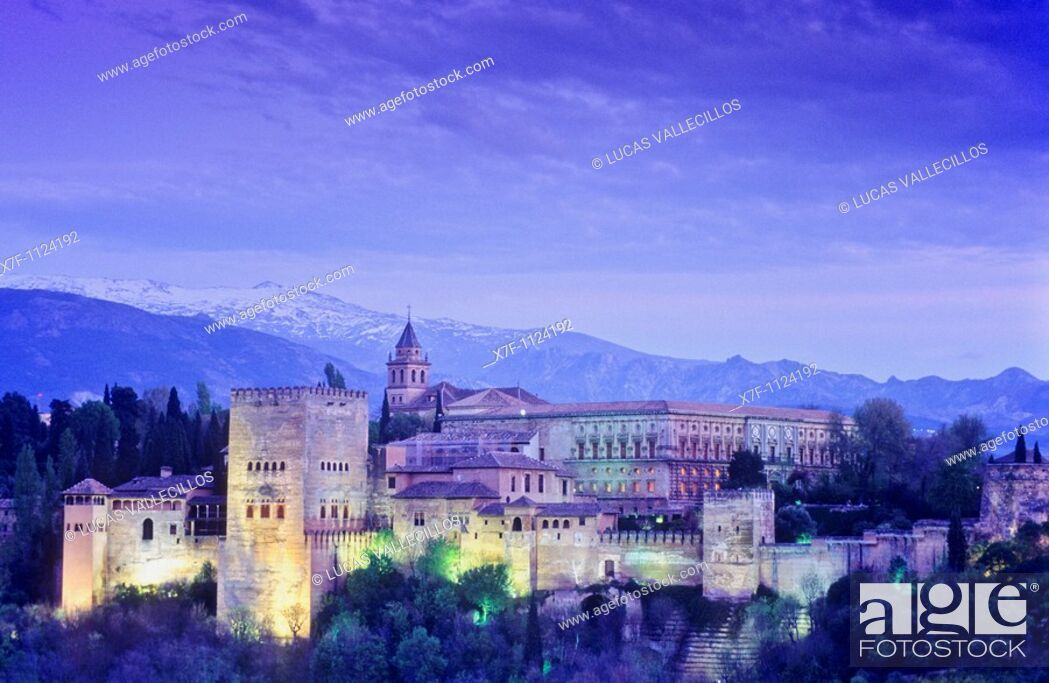 Stock Photo: Alhambra and Sierra Nevada, Granada  Andalusia, Spain.