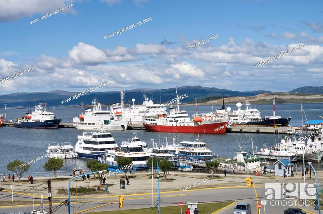 Stock Photo: Ships in docks in the southernmost city in the world, Ushuaia, Argentina, South America.