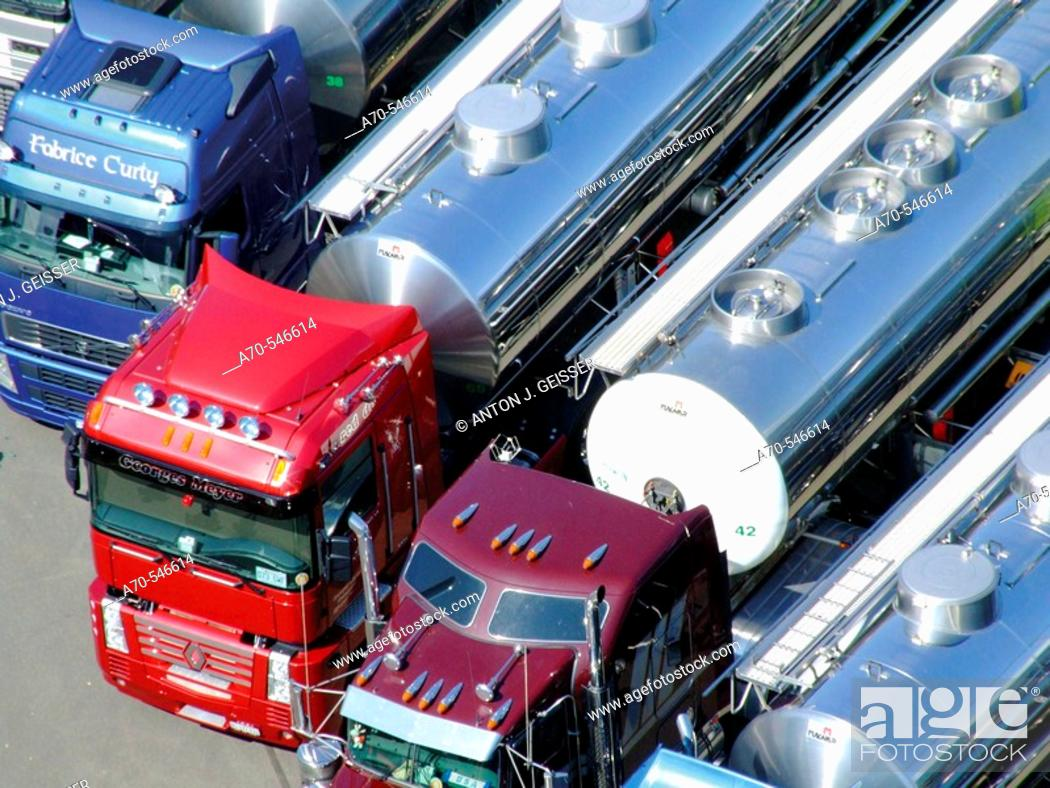 Stock Photo: Milk tankers. Trucker & Country Festival Interlaken. Canton of bern. Switzerland.