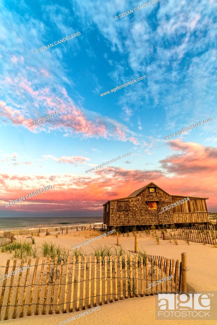 Stock Photo: Judges Shack NJ Shore II - The Judge's Shack at Island Beach State Park (IBSP) at the New Jersey shore. . . This original fishing shack is believed to have been.