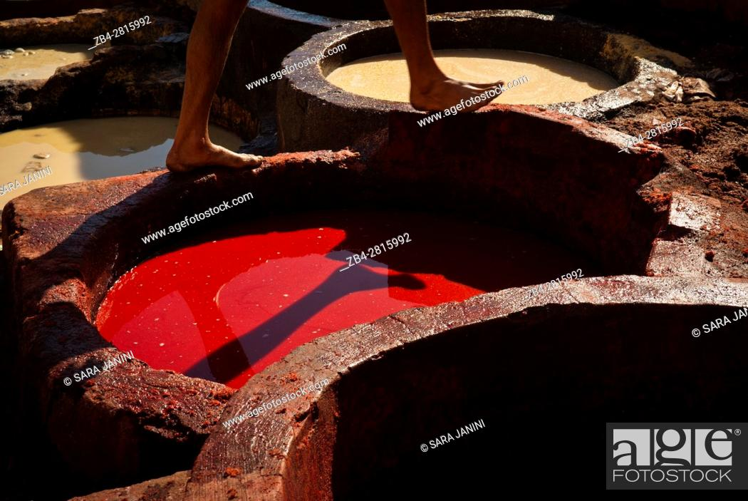 Stock Photo: Worker feet at the Chouwara Tannery, Fez or Fes, Morocco, North Africa.