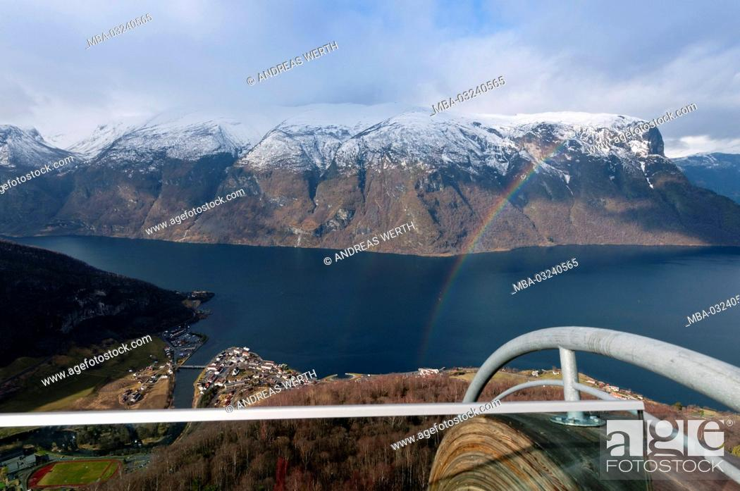 Stock Photo: View of the Viewing platform Stegastein in the Aurlandsfjord, a branch of the Sognefjords, late winters, Sogn of Fjordane, Norway,.