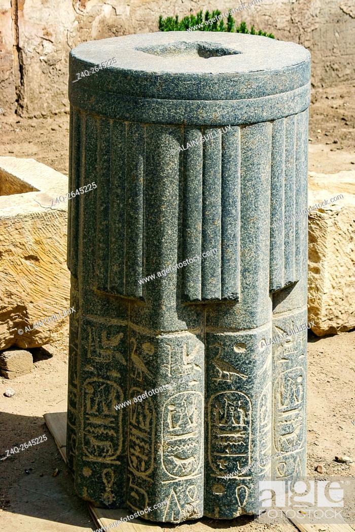 Stock Photo: Egypt, Cairo, Heliopolis, open air museum, obelisk parc. Piece of a column, with king Merenptah cartouches.