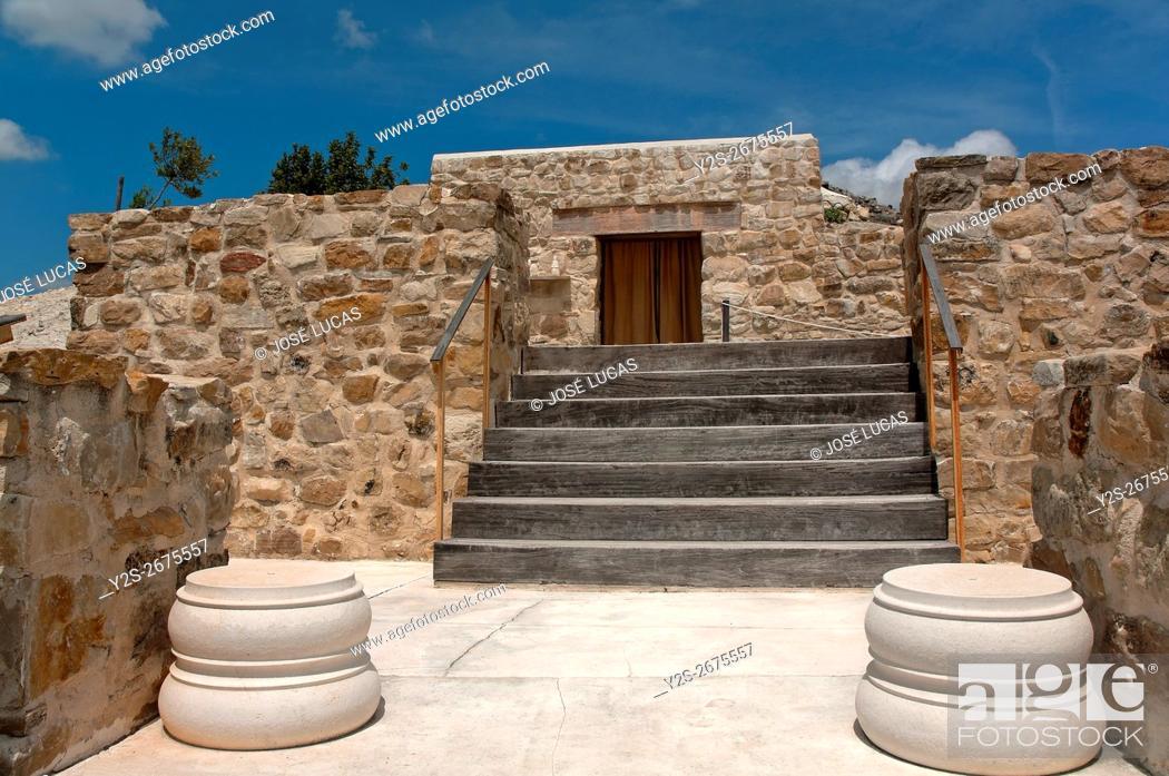 Stock Photo: Torreparedones, iberian-roman archaeological park, Iberian Shrine-3th century BC, Baena, Cordoba province, region of Andalusia, Spain, Europe.