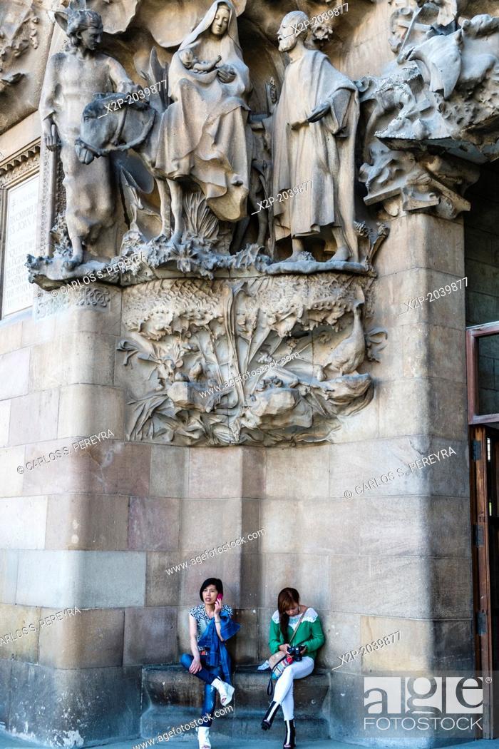 Stock Photo: Basilica of Sagrada Familia by architect Antoni Gaudi in Barcelona, Catalonia, Spain.