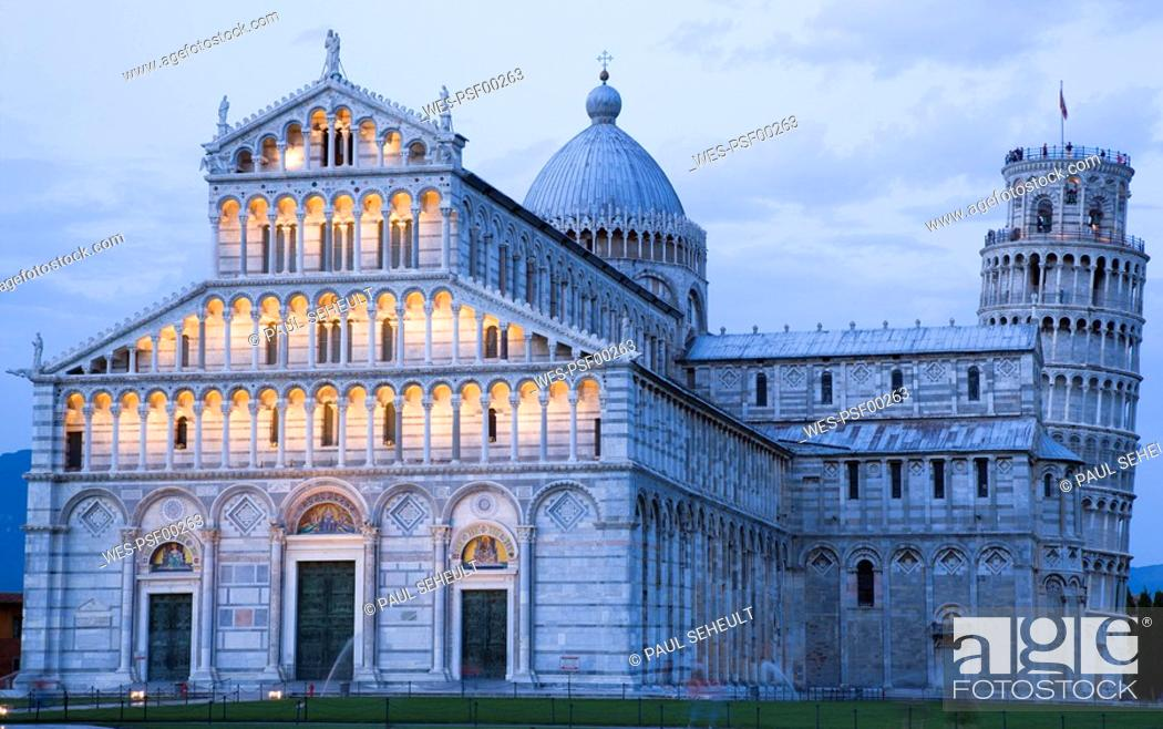 Imagen: Italy, Tuscany, Pisa, Piazza dei Miracoli, Square of Miracles, Cathedral and Leaning Tower,.