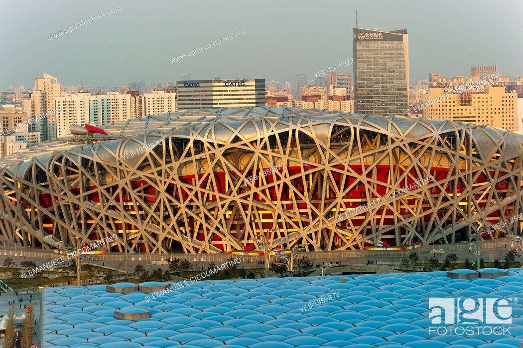 Stock Photo: Bird's Nest National Stadium and Watercube National Swimming Centre, 2008, Olympic Green, Beijing, China, Asia.