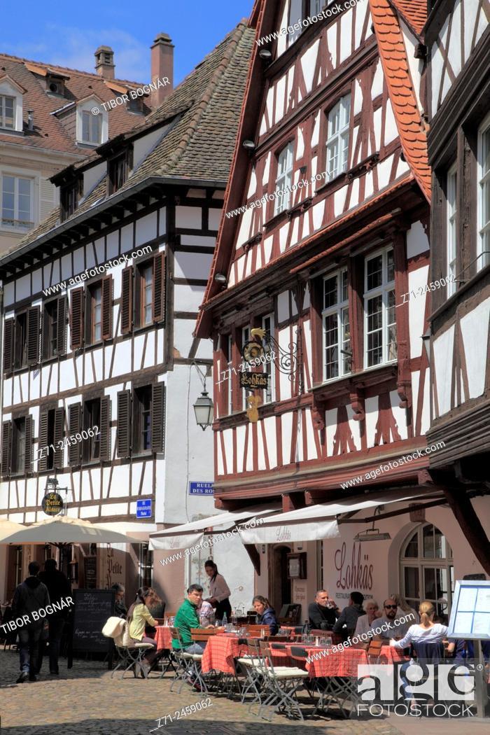 Stock Photo: France, Alsace, Strasbourg, Petite France, restaurant, people.