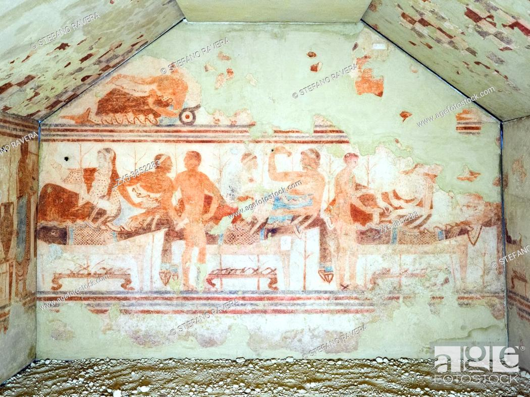 Stock Photo: Fresco painted wall in Tomba della nave (ship tomb) 5th century BC - Tarquinia National Archaeological Museum, Italy.