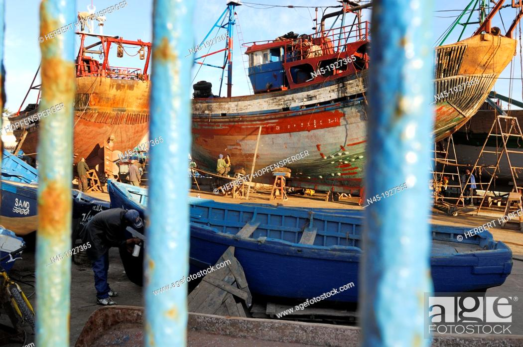 Stock Photo: Essaouira; Harbour; behind the Fence; Morocco.