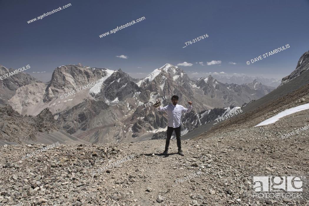 Stock Photo: On top of the world, Chimtarga Pass, Fann Mountains, Tajikistan.
