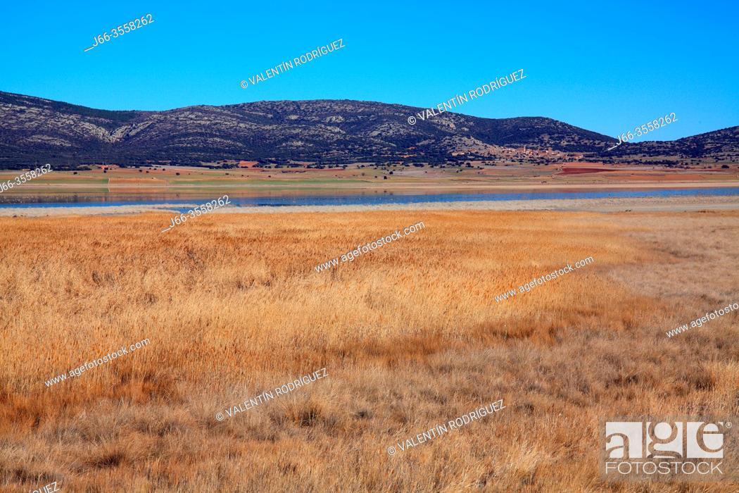 Stock Photo: Gallocanta wildlife reserve. Landscape with the Berruecos village in the background. Zaragoza, Spain.