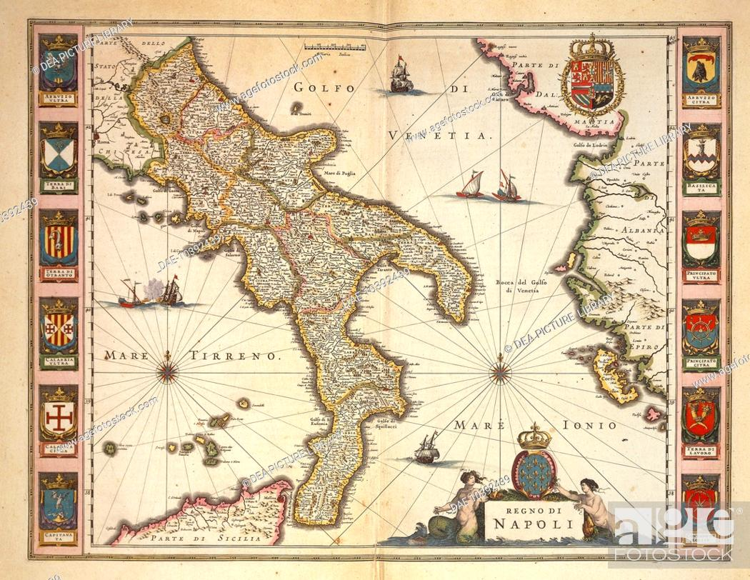 Map Of Italy Calabria Region.Cartography Italy 17th Century Map Of Calabria Region By Joan