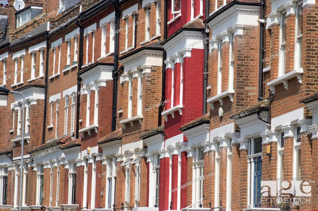 Stock Photo: Residential terrace flats, with one red, house, Belsize Park, London, NW1, England.