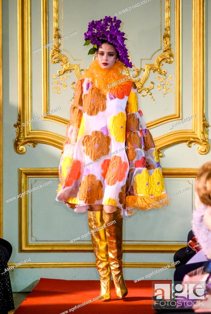 Stock Photo: PARIS, FRANCE - FEBRUARY 25: A model walks the runway during the Romanian designers collective show wearing the design of Catalin Botezatu as part of Paris.