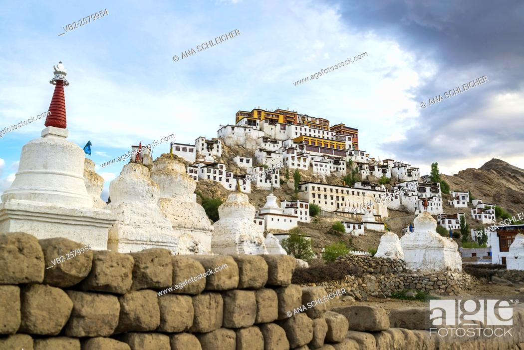 Stock Photo: Low-angle shooting of Thicksay gompa, Ladakh, India.