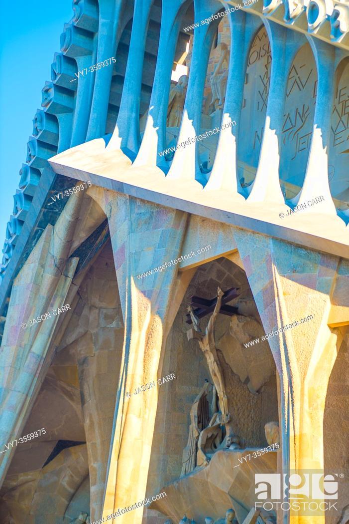 Stock Photo: BARCELONA, SPAIN - January 9, 2019: La Sagrada Familia's construction in progress. It is on the part of UNESCO World Heritage site by an artist Antoni Gaudi.