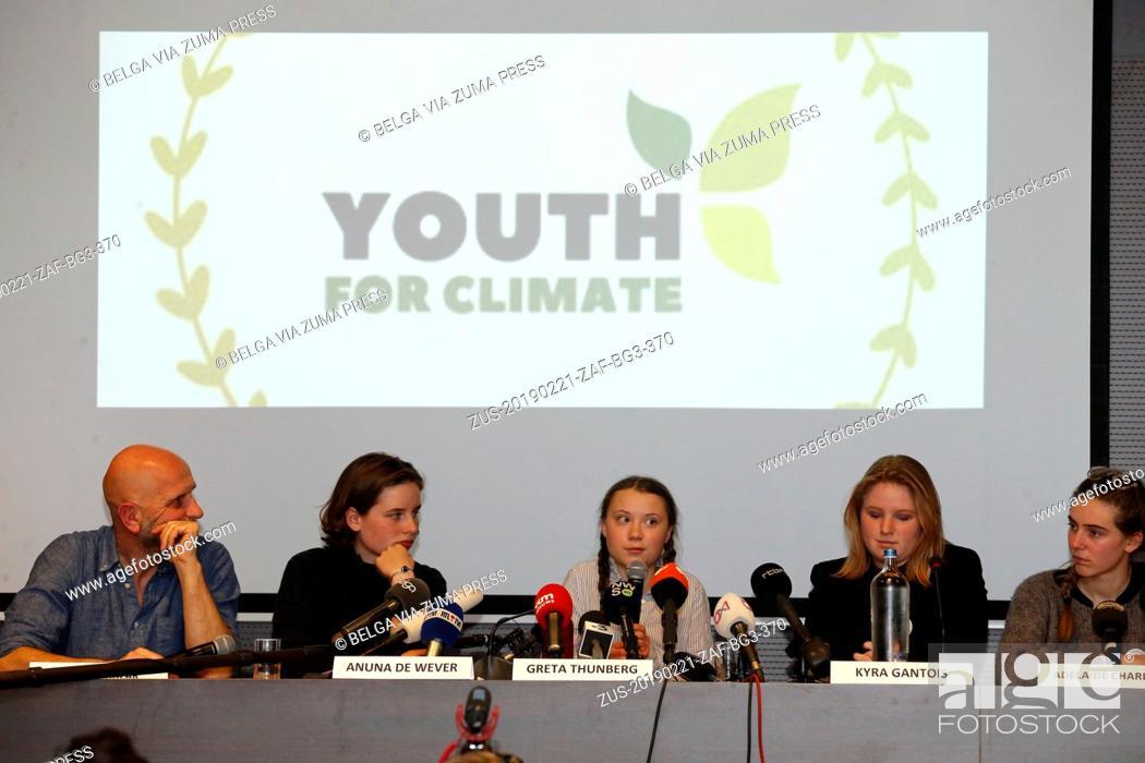 Stock Photo: February 21, 2019 - Brussels, BELGIUM - Nic Balthazar, Climate activist Anuna De Wever, Swedish climate activist Greta Thunberg.