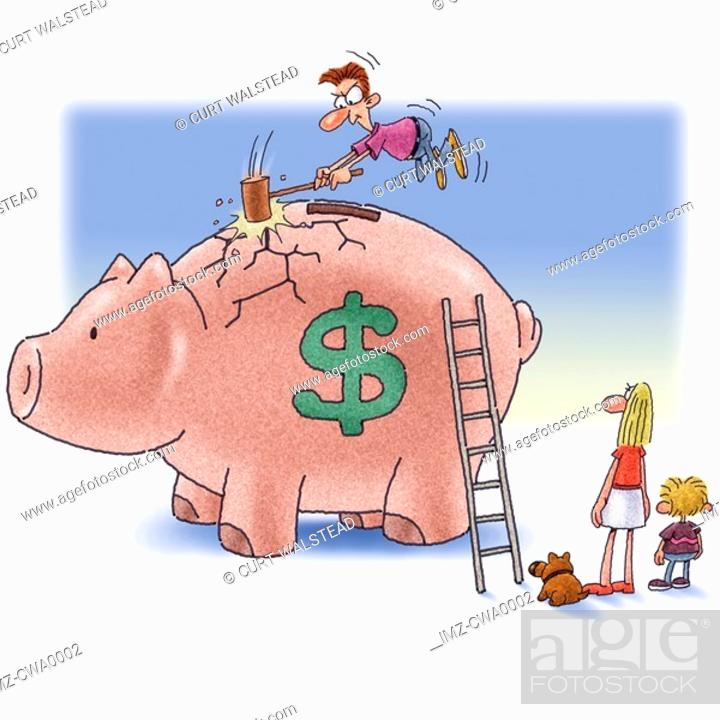 Stock Photo: A man breaking the piggy bank while his family watch on.