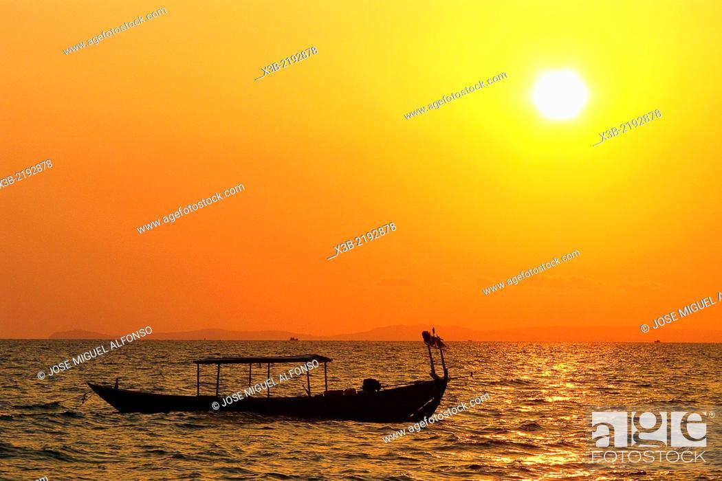 Stock Photo: Sunset in Otres beach, Sihanoukville, Cambodia.