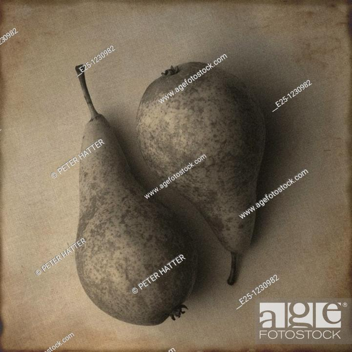 Stock Photo: Two pears arranged in a still-life composition with a toned, textured finish.