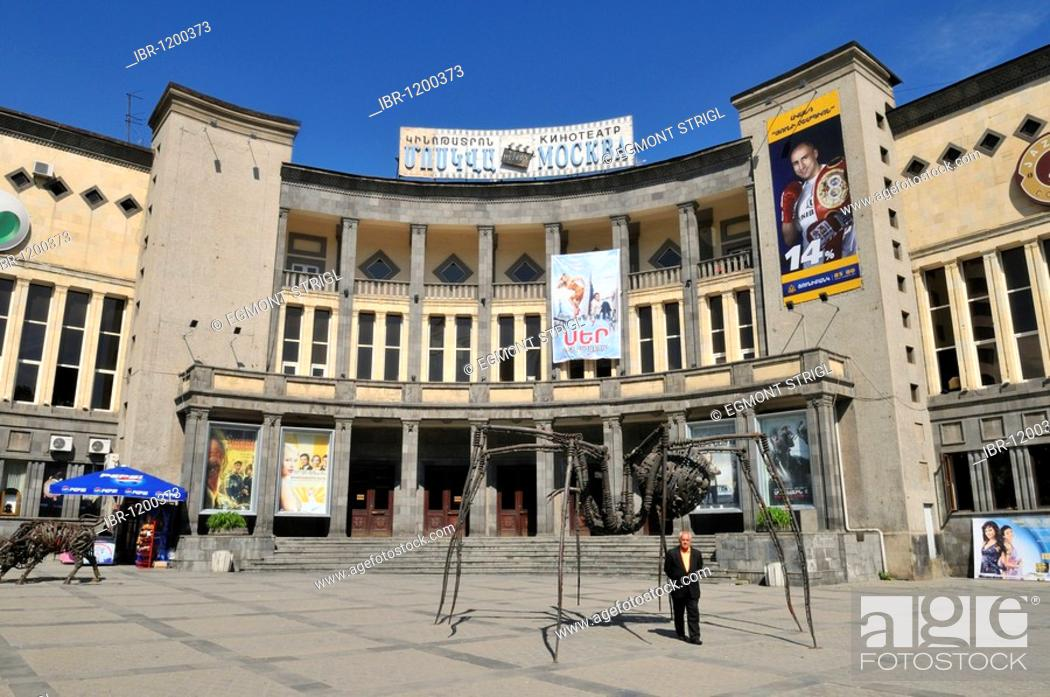 Stock Photo: Sovjet style Moscow cinema at downtown Yerevan, Jerewan, Armenia, Asia.
