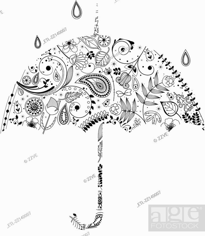 Stock Photo: various plants patterns in umbrella.