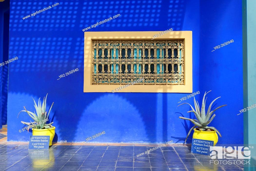 Stock Photo: Villa at the centre of the Marjorelle gardens, Marrakech, Morocco.