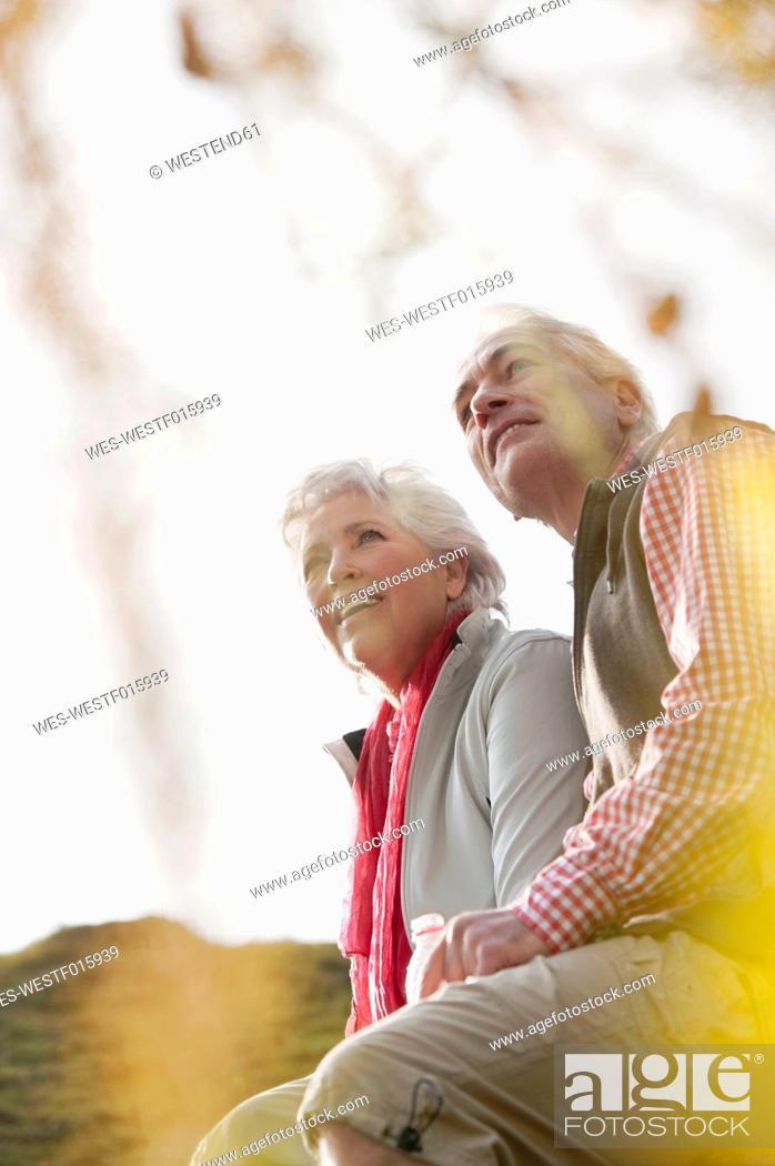 Stock Photo: Italy, South Tyrol, Mature couple hiking on dolomites.