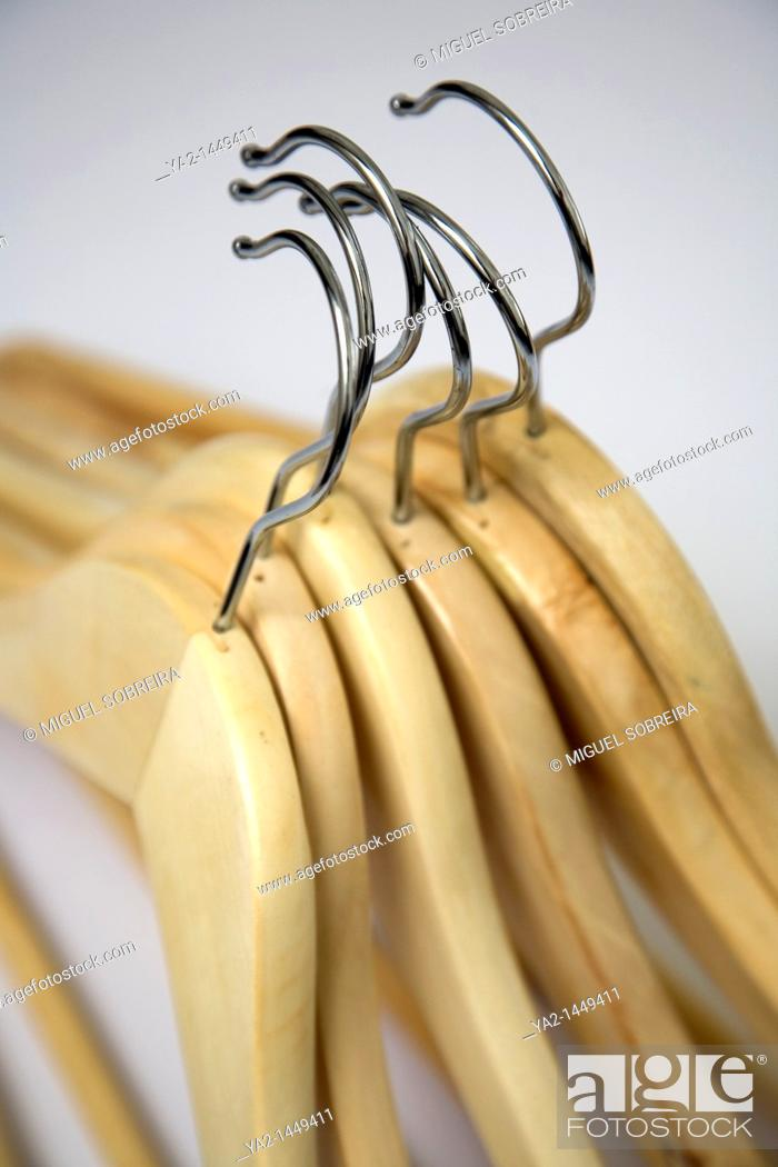 Stock Photo: Wooden Clothes Hangers.