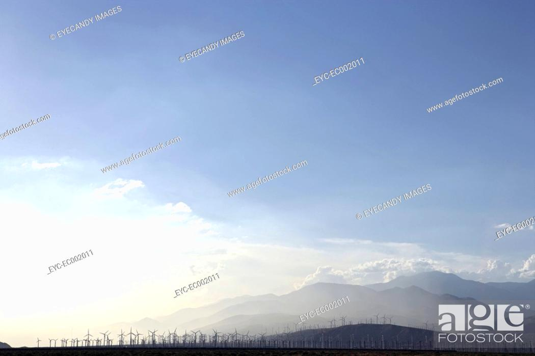 Stock Photo: View of several windmills in the distance.