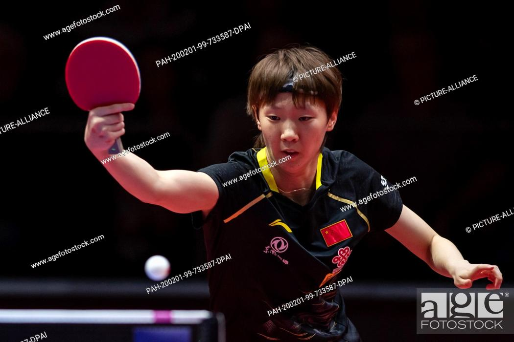 Stock Photo: 01 February 2020, Saxony-Anhalt, Magdeburg: Table tennis: German Open, women, singles, quarter finals, Wang (China) - Sun (China).