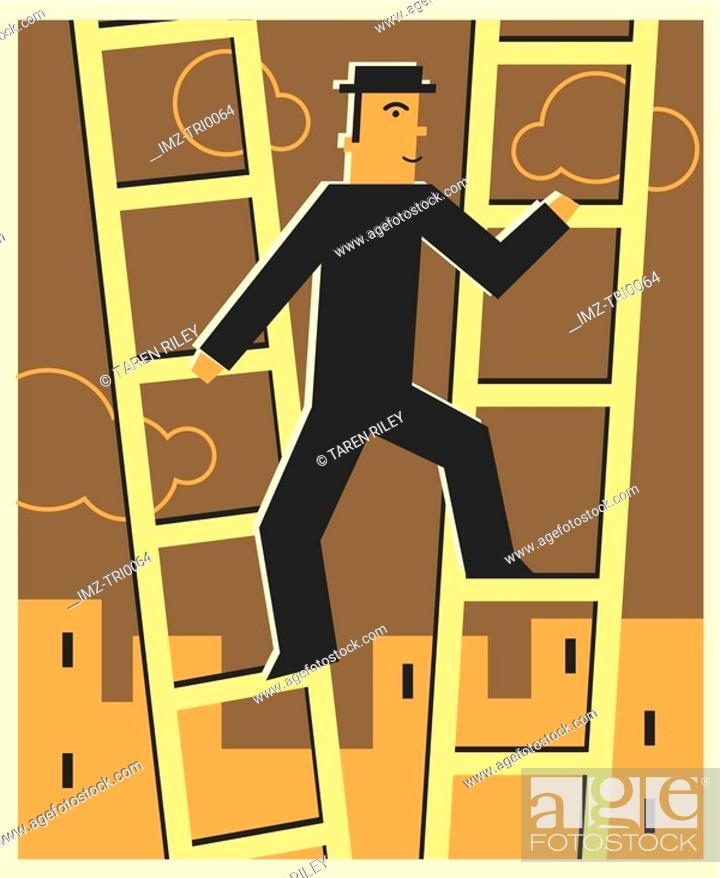 Stock Photo: Man climbing two ladders.