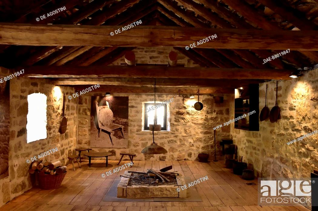 Stock Photo: Room with a fireplace, traditional house, Roski Slap, Krka National Park, Croatia. Roski Slap, Ethnographic Museum of Krka National Park.