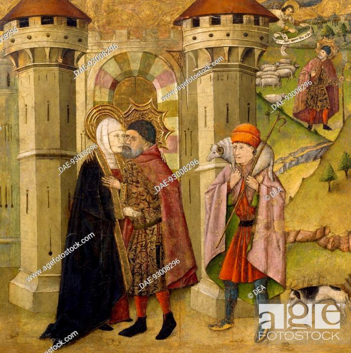Stock Photo: The Meeting of Joachim and Anne outside the Golden Gate at Jerusalem, by Jaume Huguet (1412-1492).  Bilbao, Museo De Bellas Artes De Bilbao (Art Museum).