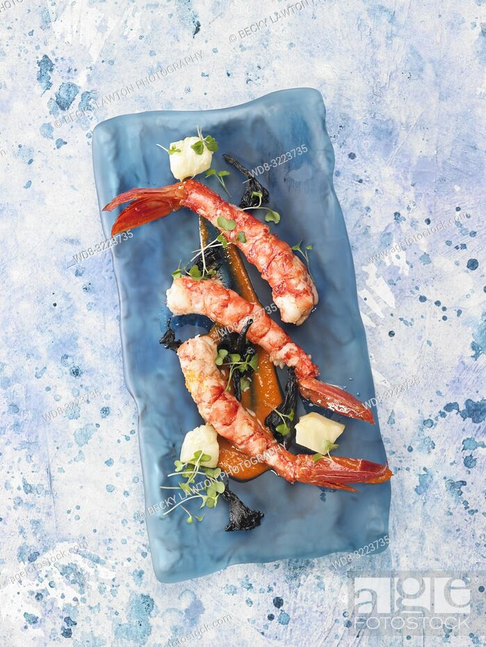 Stock Photo: gambas escarlatas confitadas / candied scarlet prawns.