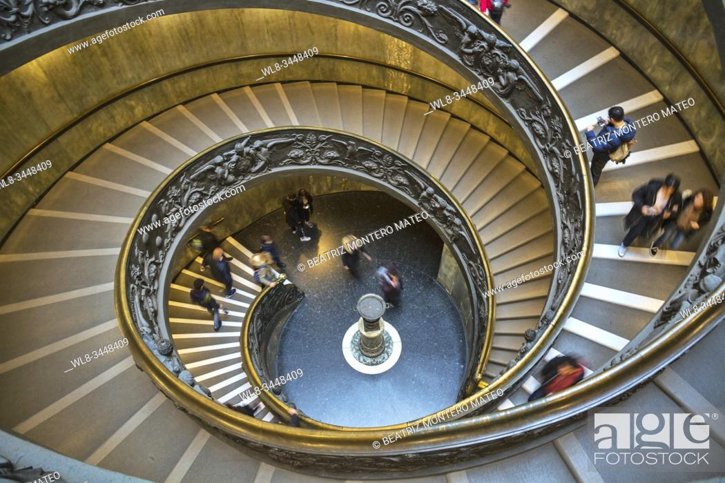 Stock Photo: Bramante Staircase in the Vatican Museum in Rome (Italy).
