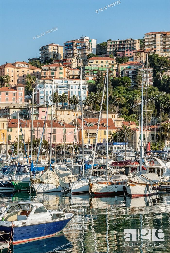 Stock Photo: View over the Marina of Imperia at the Ligurian coast, North West Italy.