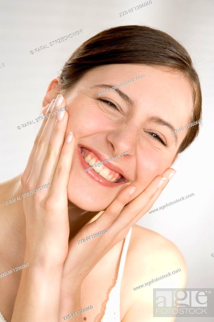 Stock Photo: smilling young woman.