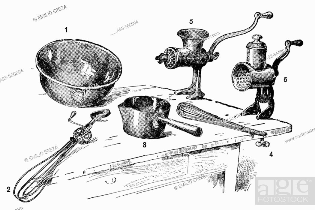 kitchen utensils antique drawing ca 1900 stock photo picture