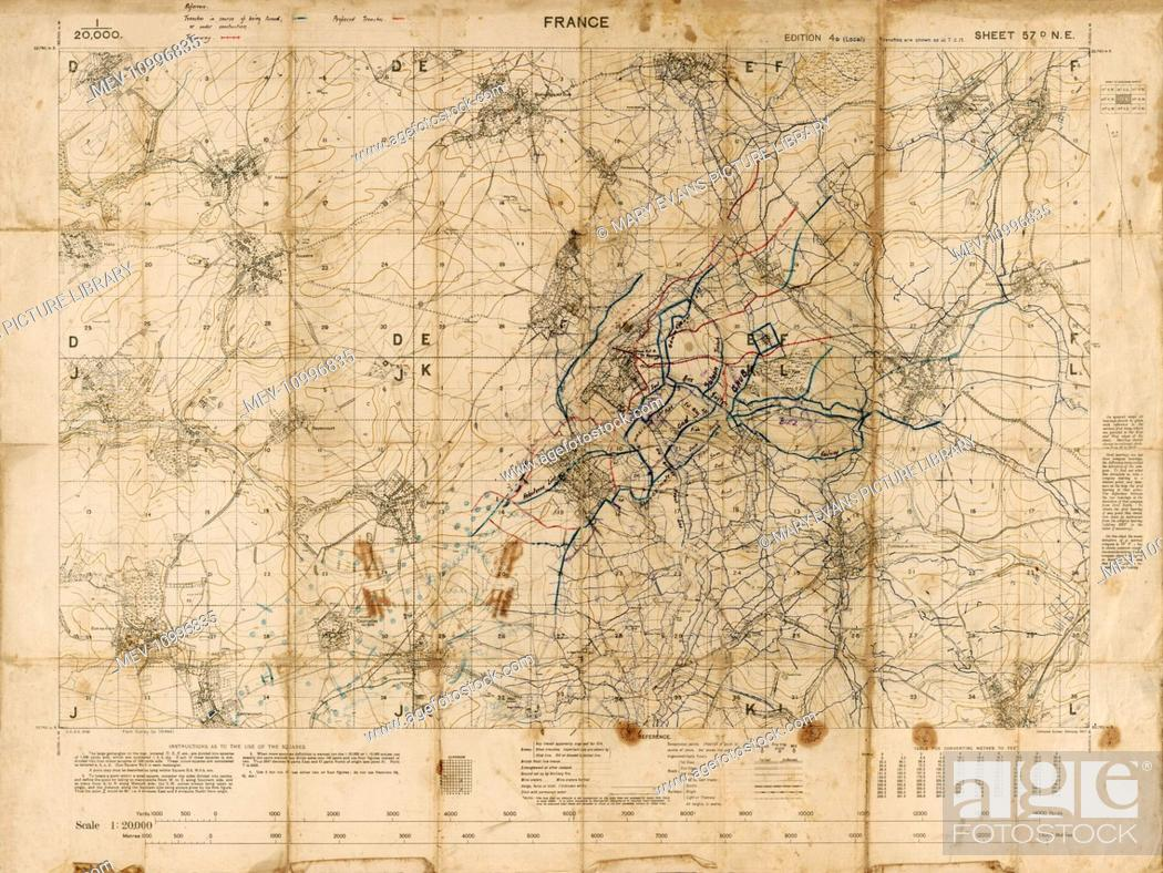 Map of the Somme Trenches - Somme Battlefield - WW1, Stock Photo ...