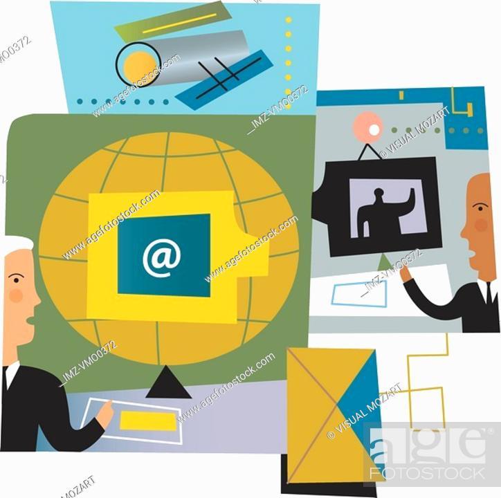 Stock Photo: An illustration of modern business communications.